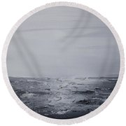 Cloudy Waves 3 Round Beach Towel