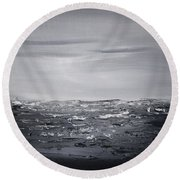 Cloudy Waves 4 Round Beach Towel