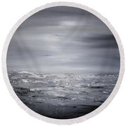 Cloudy Waves 6 Round Beach Towel