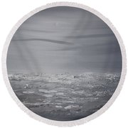 Cloudy Waves 8 Round Beach Towel