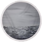 Cloudy Waves 9 Round Beach Towel