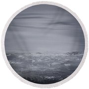 Cloudy Waves  Round Beach Towel