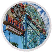 Cloudy Wonder Wheel Round Beach Towel