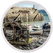 Clovelly Crab Trap Round Beach Towel