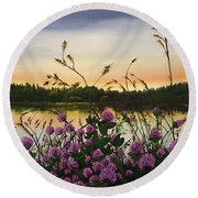 Clover Sunrise  Round Beach Towel