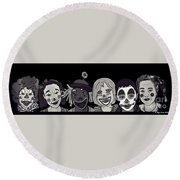 Round Beach Towel featuring the digital art Clown Alley Black Lavender by Megan Dirsa-DuBois