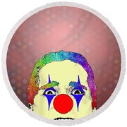 clown Christian Bale Round Beach Towel