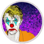 Clown David Bowie Round Beach Towel