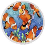 Clown Fish Round Beach Towel