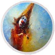 Clown Musician Round Beach Towel