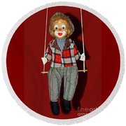 Round Beach Towel featuring the photograph Clown On Swing By Kaye Menner by Kaye Menner
