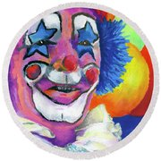 Clown With Balloons Round Beach Towel