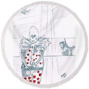 Clown With Crystal Ball And Mermaid Round Beach Towel