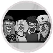 Round Beach Towel featuring the digital art Clowns Bw by Megan Dirsa-DuBois