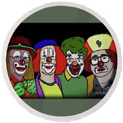Round Beach Towel featuring the digital art Clowns by Megan Dirsa-DuBois