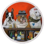 Round Beach Towel featuring the painting Club K9 by Leah Saulnier The Painting Maniac