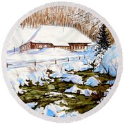 Round Beach Towel featuring the painting Clubhouse In Winter by Sher Nasser