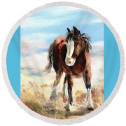 Clydesdale Foal Round Beach Towel