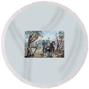 Clydesdales And Cart Round Beach Towel