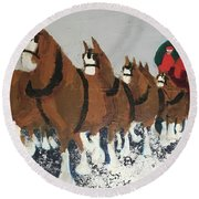 Round Beach Towel featuring the painting Clydsdale Horses Bringing Home The Tree by Donald J Ryker III