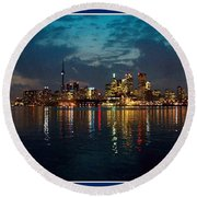Cn  Tower And Toronto Down Town Water Front Beauty At Night Full Blast Photo Round Beach Towel