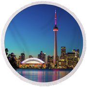 Cn Tower Rogers Centre Toronto  Round Beach Towel