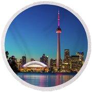Cn Tower Rogers Centre Toronto  Round Beach Towel by Mariusz Czajkowski