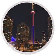 Cn Tower Toronto From Marina At Night Round Beach Towel