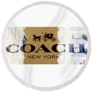 Round Beach Towel featuring the photograph Coach New York Sign by Marianna Mills