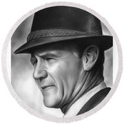 Coach Tom Landry Round Beach Towel by Greg Joens