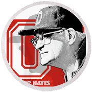 Coach Woody Hayes Round Beach Towel by Greg Joens