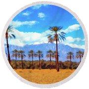 Coachella Date Palms Round Beach Towel