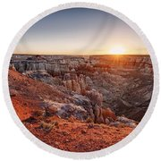 Coal Mine Canyon Sunrise Round Beach Towel