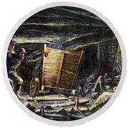 Coal Mine Explosion, 1873 Round Beach Towel