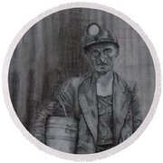 Coal Miner Round Beach Towel