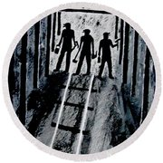 Coal Miners At Work Round Beach Towel