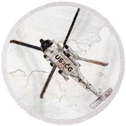 Round Beach Towel featuring the photograph Coast Guard Helicopter by Aaron Berg