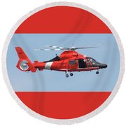 Coast Guard Helicopter Round Beach Towel by Jimmie Bartlett