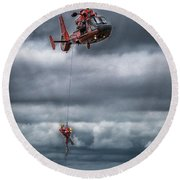 Coast Guard Rescue Operation  Round Beach Towel