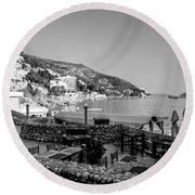 Coast Of Dubrovnik Round Beach Towel