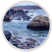 Coast Of Maine In Autumn Round Beach Towel