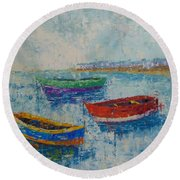 Coast Of Normandy Round Beach Towel