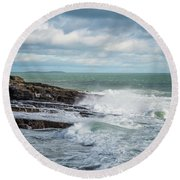 Coast Off The Hook Lighthouse Round Beach Towel