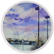 Coastal Beach Highway Round Beach Towel