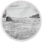 Round Beach Towel featuring the drawing Coastal Beach by Terry Frederick