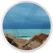 Coastal Blues Round Beach Towel