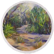 Coastal Bush  1770 Queensland Painting Round Beach Towel