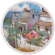 Coastal Cottages Round Beach Towel