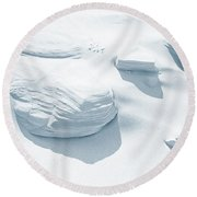 Round Beach Towel featuring the photograph Coastal Dunes. Series Ethereal Blue by Jenny Rainbow