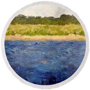 Round Beach Towel featuring the painting Coastal Dunes - Square by Michelle Calkins